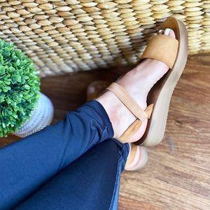 Comfort Vegan Suede Tan Sandals